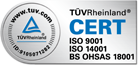 Certified according to the rule UNE EN 9001, UNE EN ISO 14001 y OHSAS 18001.