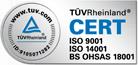 Certificado conforme a las normas UNE EN ISO 9001, UNE EN ISO 14001 y OHSAS 18001.